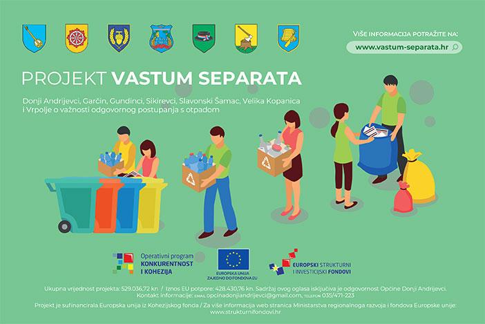Upute za prikupljanje otpada u sklopu Vastum separata projekta
