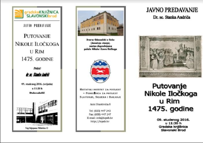 """Javno predavanje Dr. sc. Stanka Andrića """"Putovanje Nikole Iločkoga u Rim 1475. godine"""""""