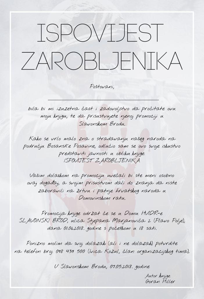 """Promocija knjige Gorana Hillera - """"Ispovijest zarobljenika"""""""