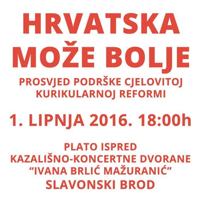 Prosvjed - Slavonski Brod - Inicijativa Hrvatska može bolje - podrška cjelovitoj kurikularnoj reformi