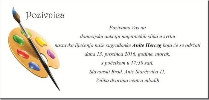 Aukcija umjetnina za pomoć Aniti Herceg