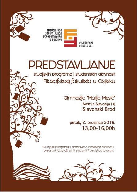 Prezentacija studijskih programa i aktivnosti studenata Filozofskog fakulteta u Osijeku