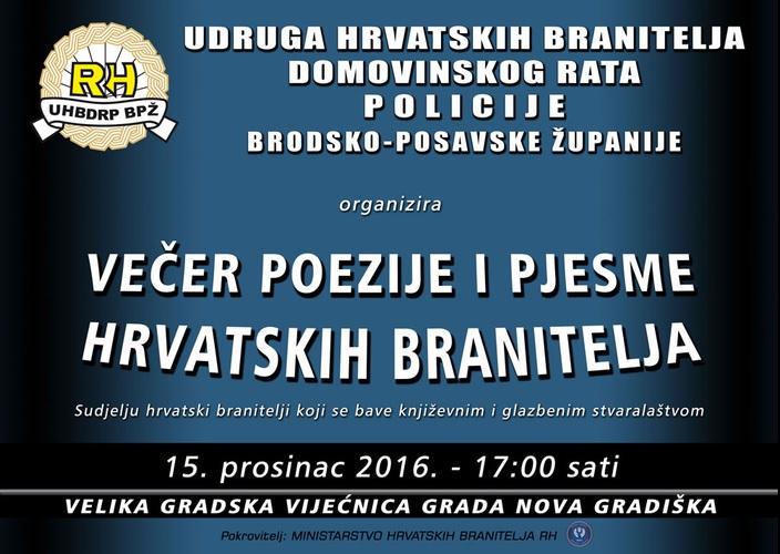 Večer poezije i pjesme hrvatskih branitelja u Novoj Gradiški