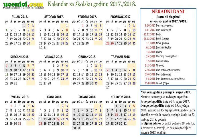 Školski kalendar za novu nastavnu 2017./2018. godinu