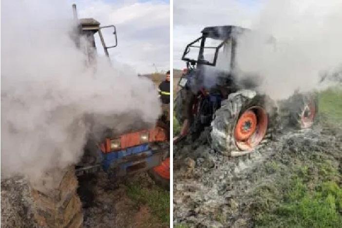 Jutros u sibinjskom polju zapaljen traktor